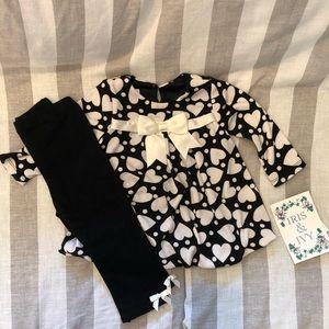 NWT Iris & Ivy black and white Hearts dress